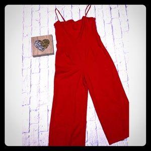 Astr The Label Red Capri Jumpsuit Spaghetti Straps